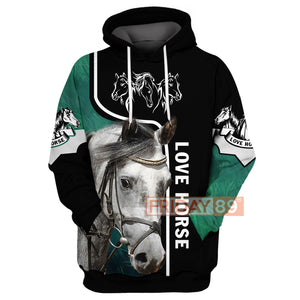 All Over Print Love Horse - Love Horse Riding Hoodie