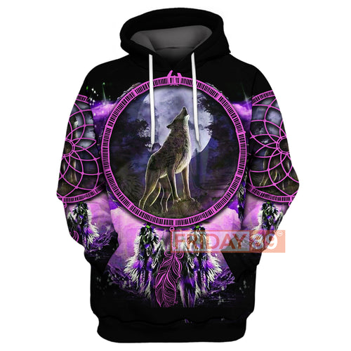 Native Wolf Dreamcatcher Violet All Over Print Hoodie