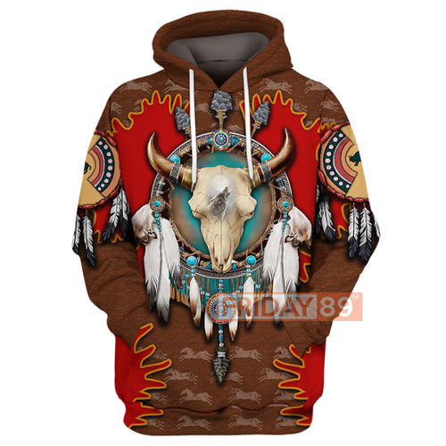 Native Bison Skull Dreamcatcher 3D Print Hoodie