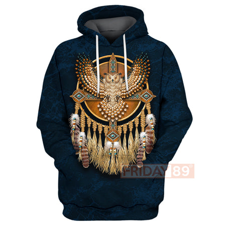 Native American Olw Dreamcatcher Pattern 3D Print Hoodie
