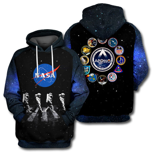Apollo 11 Walking Astronauts All Over Print Hoodie