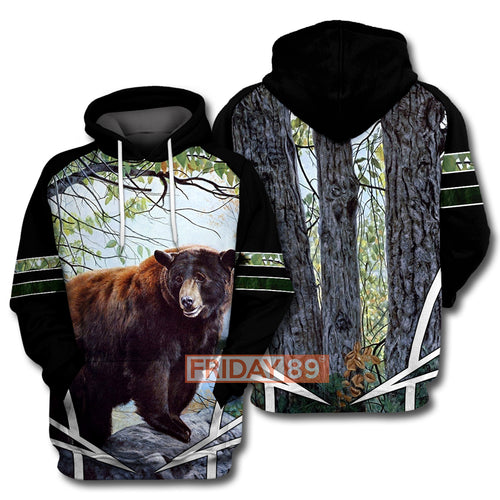 Camping Brown Bear Tree All Over Print Hoodie