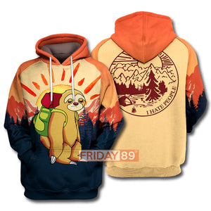 Camping Sloth I Hate People All Over Print Hoodie