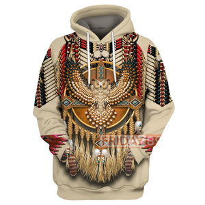 Native American Pale Owl Pattern All Over Hoodie