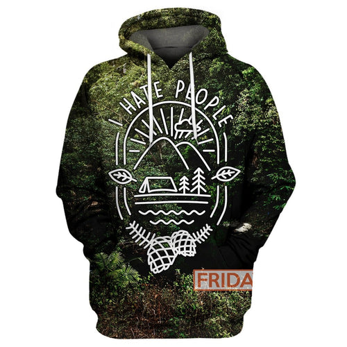 I Hate People Camping Forest 3D Print Hoodie T-shirt Tank Sweater