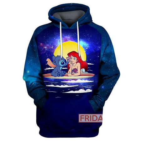 DN Stitch And Mermaid Princess All Over Print Hoodie T-shirt
