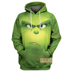 All Over Print Grinch Face Christmas Green Hoodie