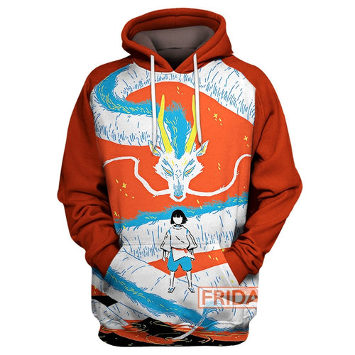 S.Ghibli Spirited Away Haku And Dragon Art 3D All Over Print Hoodie T-shirt