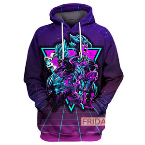 DB Dragon Goku Retro 80s All Over Print Hoodie T-shirt