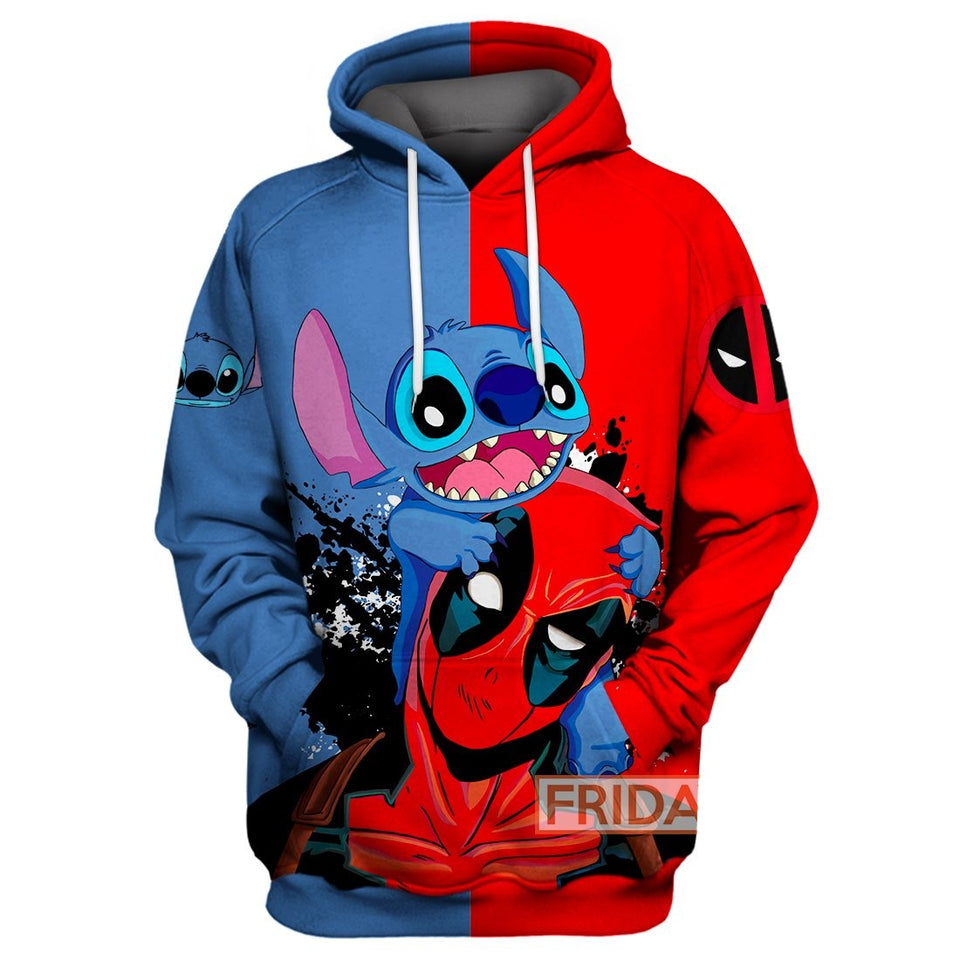 Stitch and DP Over Print Hoodie T-shirt