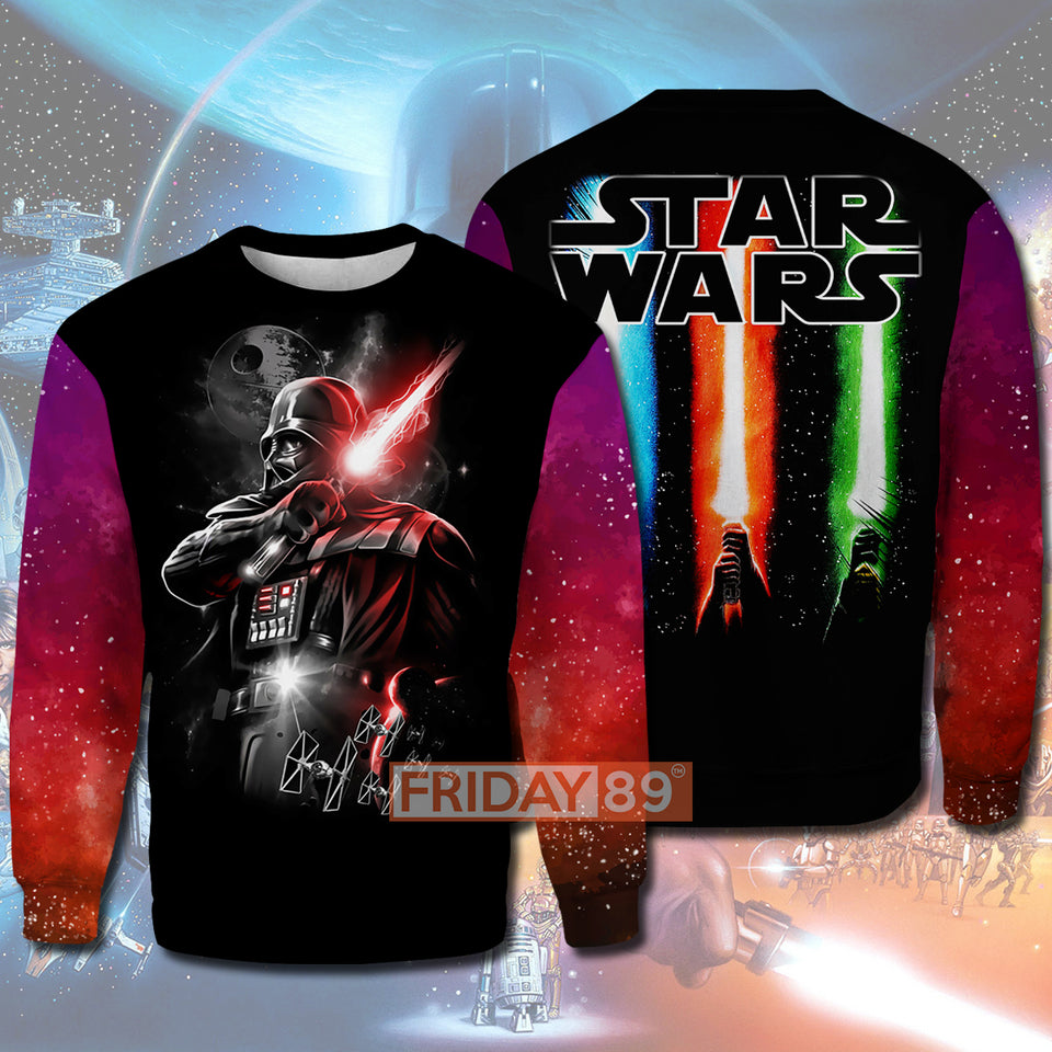 SW Dark Lord D.Vader Lightsaber  All Over PRINT HOODIE T-SHIRT