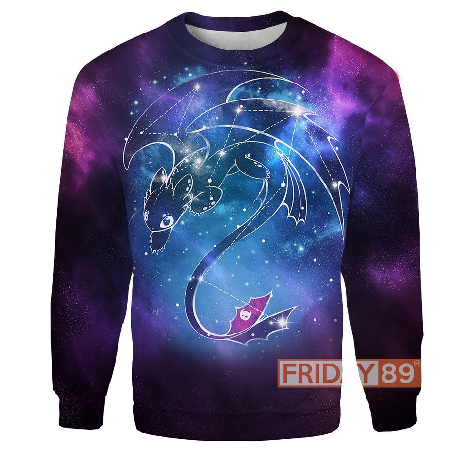 HTTYD Dragon Toothless Zodiac Star Signs Horoscope Over Print Hoodie T-shirt
