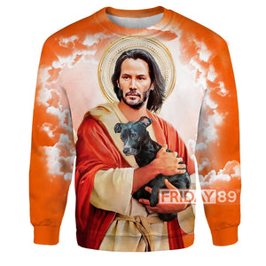 JW J.Wick The Saint With His Dog  All Over Print Hoodie T-shirt