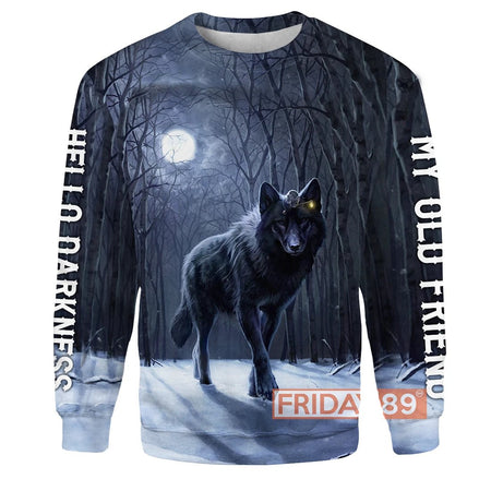 The Wolf And The Moon Hello Darkness My Old Friend 3D Print Hoodie