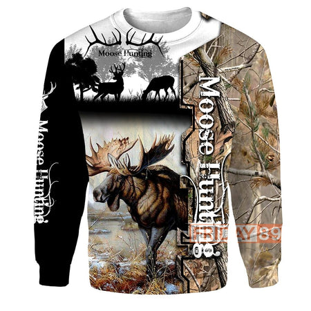 Moose Hunting  All Over Print Hoodie
