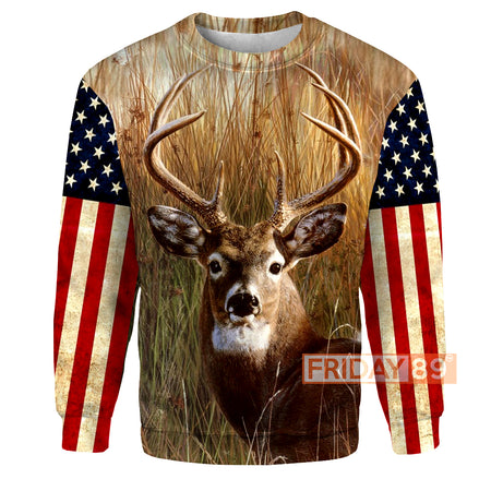 Deer Hunting Wildlife American Flag All Over Print Hoodie