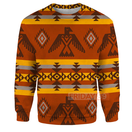 Orange Eagle Symbols Native American Culture Patterns 3D Print Hoodie