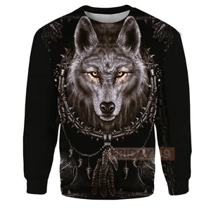 Mystery Wolf Black Native American Dreamcatcher All Over Print Hoodie
