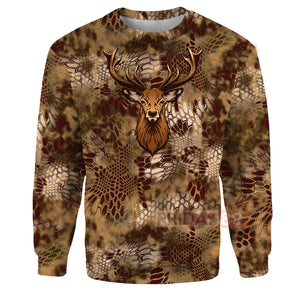 Deer Hunter Hunting Camo All Over Print Hoodie T-shirt