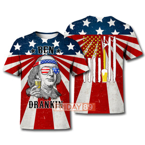 4th Of July Ben Dranking American Beer Flag All Over Print Hoodie T-shirt