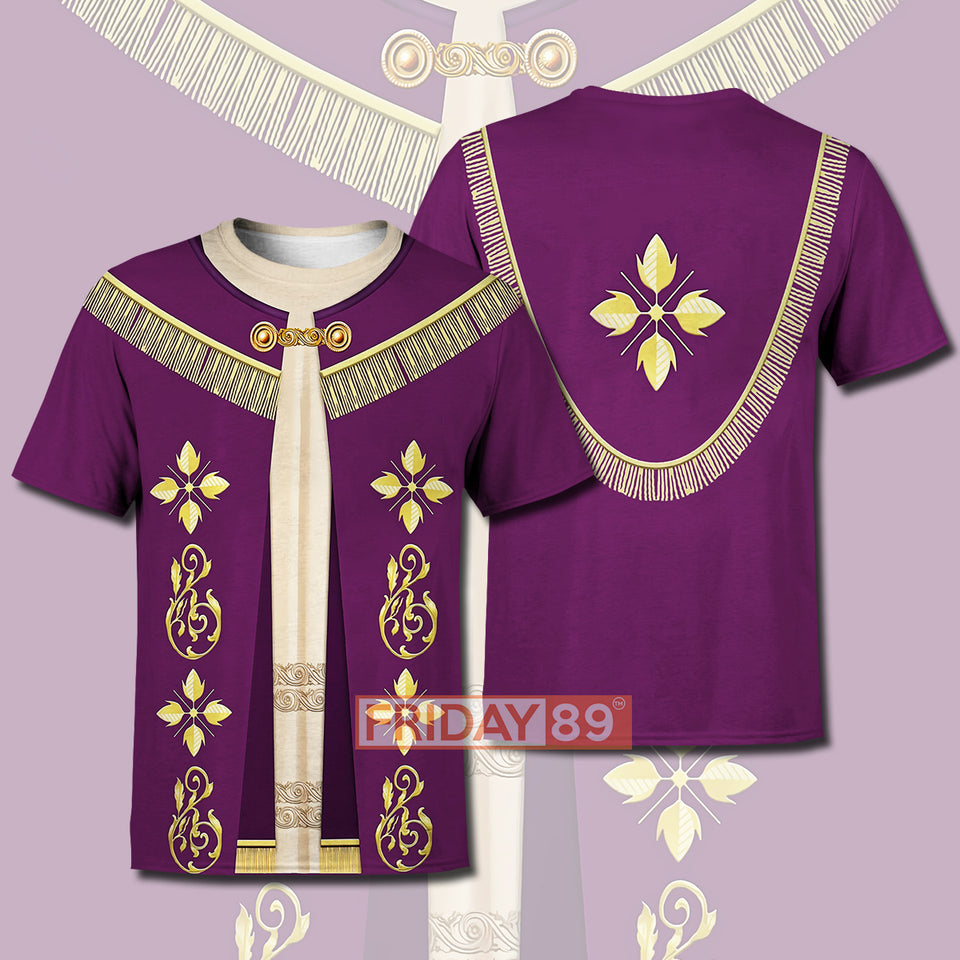 POPE FRANCIS IN PURPLE LITURGICAL VESTMENT COSPLAY ALL OVER PRINT HOODIE T-SHIRT