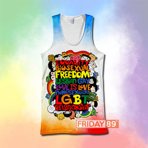 FREEDOM LESBIAN GAY LOVE IS LOVE LGBT RELATIONSHIP ALL OVER PRINT HOODIE T-SHIRT