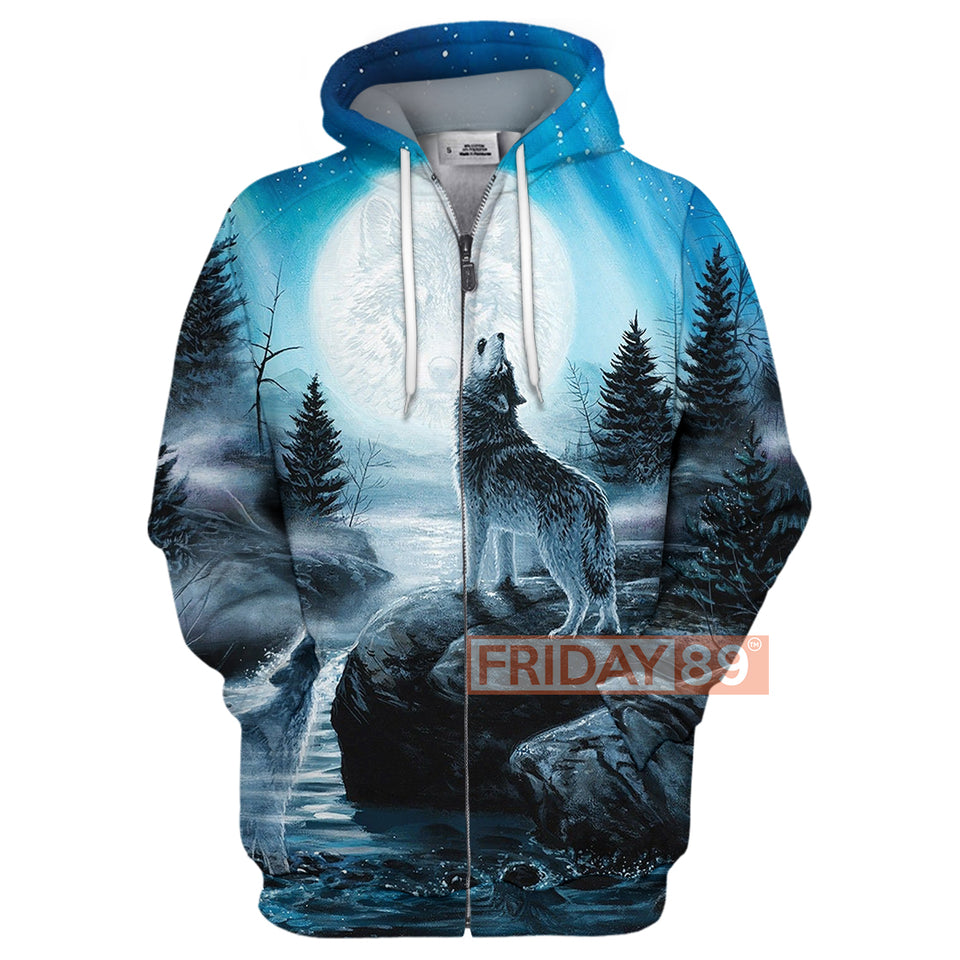 The Wolf In The Moonlight 3D Print Hoodie