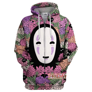 S.Ghibli No Face Floral Spirited Away  All Over Print Hoodie T-shirt