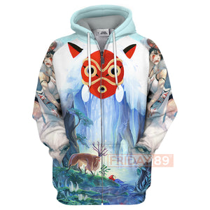 S.Ghibli Princess Mononoke Forest Spirit 3D All Over Print Hoodie T-shirt