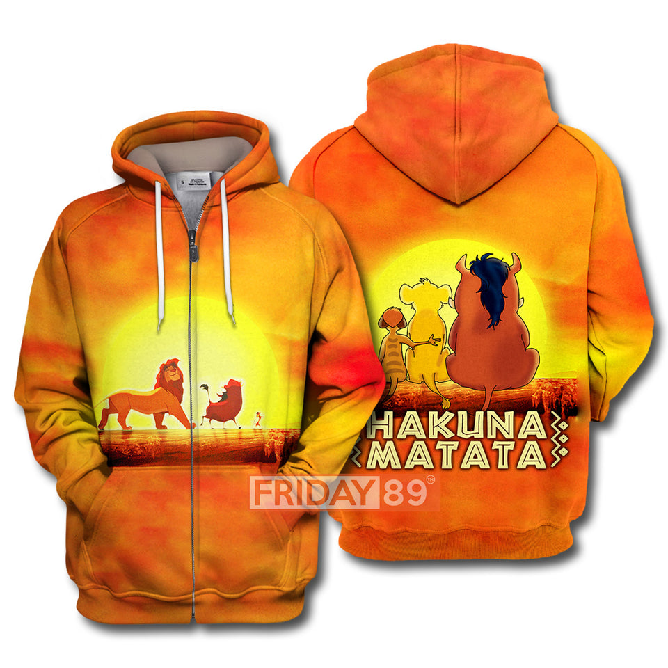 LK Simba Timon Pumba Friends Sunset All Over Print Hoodie T-shirt