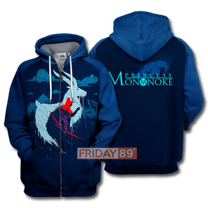 S.Ghibli Couple Princess Mononoke Ashitaka Art 3D All Over Print Hoodie T-shirt