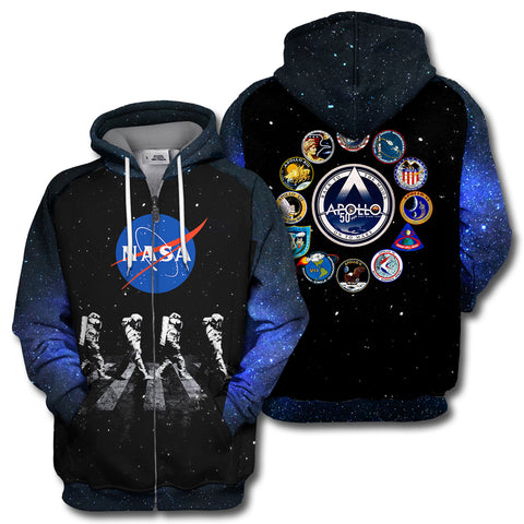 Image of Apollo 11 Walking Astronauts All Over Print Hoodie