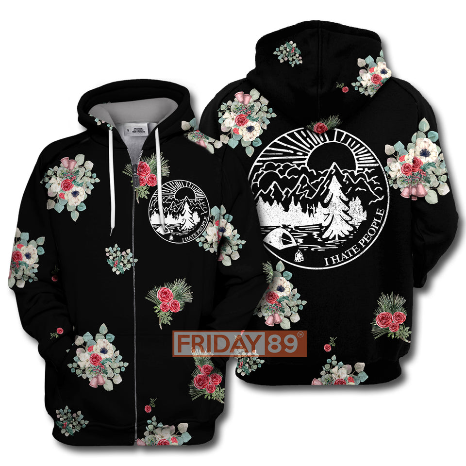 Flower I Hate People Camping Floral All Over Print Hoodie