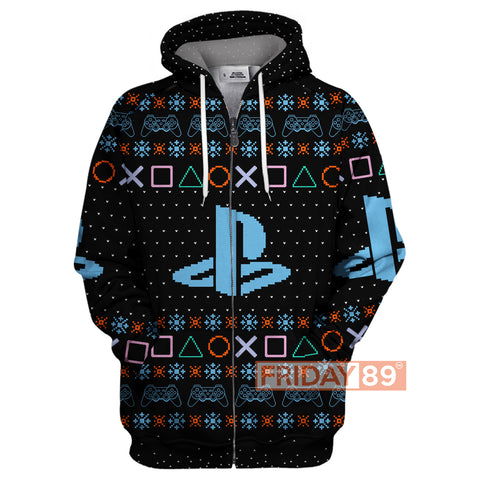 PS 4 Games Logo Christmas Pattern Hoodie Sweater