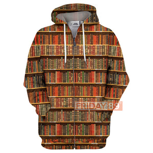 Book Reader Library Books Wall Book Lovers All Over Print Hoodie T-shirt