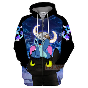 Stitch And Toothless Dragon HTTYD 3D Print Hoodie