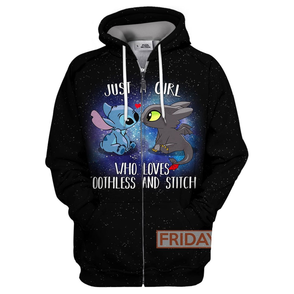 Just a Girl Who Loves Toothless and Stitch All Over Print Hoodie T-shirt