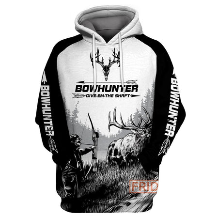 Bow Hunter Moose Deer Hunting Art 3D All Over Print Hoodie T-shirt