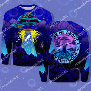 Ask Me About My Butthole Alien All Over Print Hoodie T-shirt