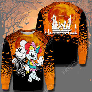 TNBC Mouse Couple Halloween Town All Over Print Hoodie T-shirt