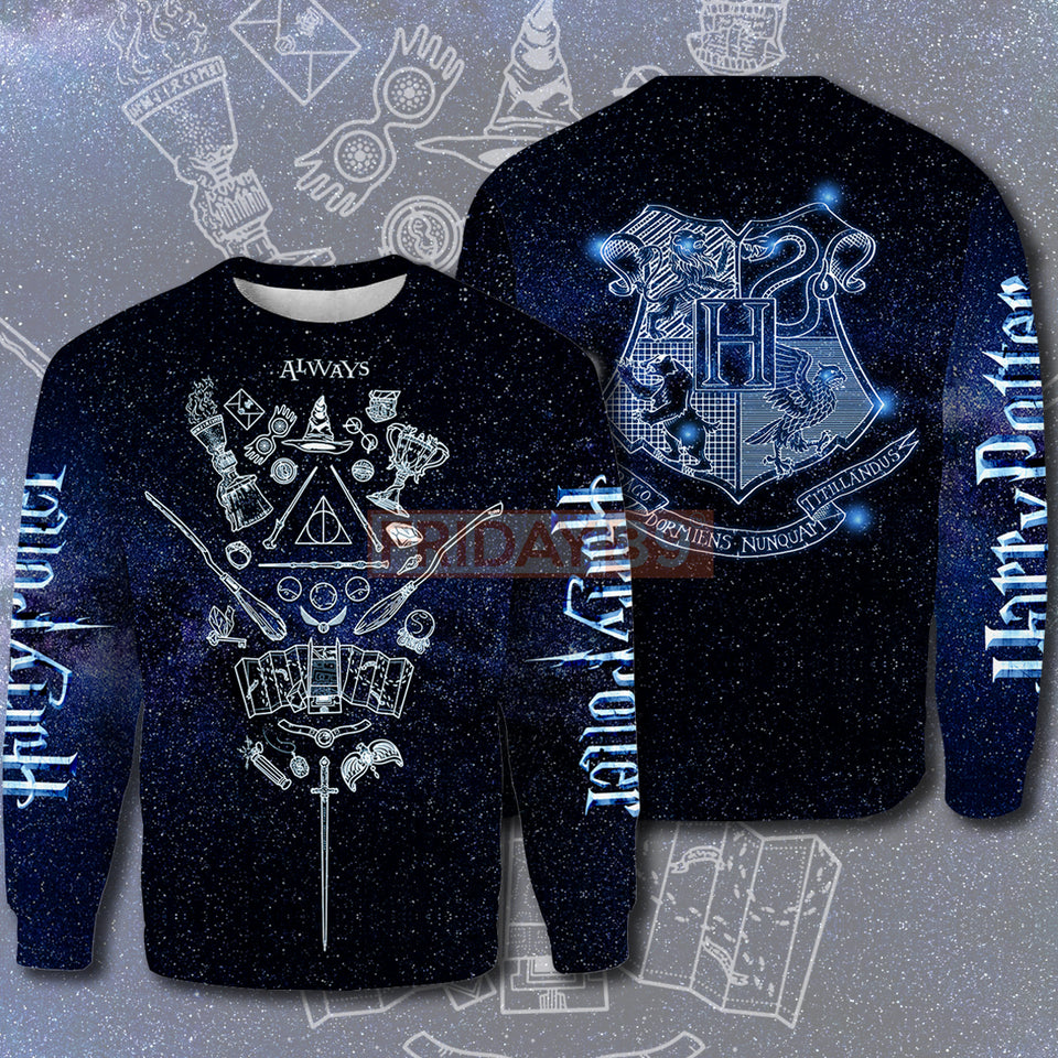 HP ALWAYS MAGICAL ITEMS AND HW HOUSE ALL OVER PRINT HOODIE T-SHIRT