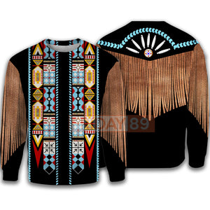 Native American Black Costume Culture Pattern 3D Print Hoodie