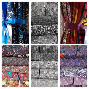 Fat Quarters of fabric in various set colours Red, Black and White, White and Black, Purple, Blue, Brown