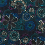 Traditional Aboriginal dot painting forming circles, flowers in blue, maroon, black and white