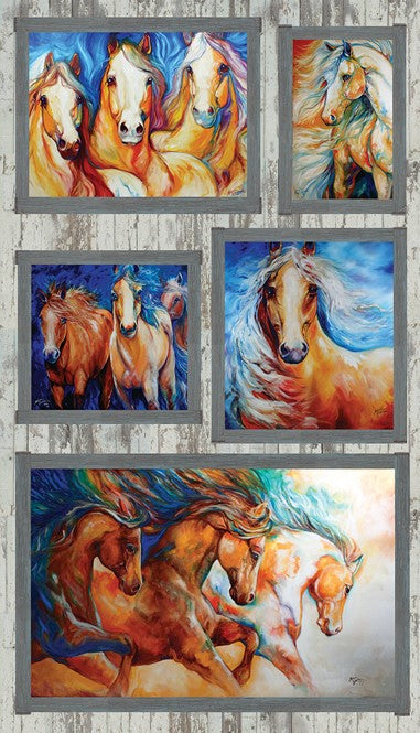 199.8102 Born to Run Horse Panel 5 x panels of horses posing at different angles Chestnut colour horse, manes of black, brown and cream - Whispers of the Valley Fabric