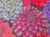 Dahlia Flowers colours purple, red, lime, yellow, green