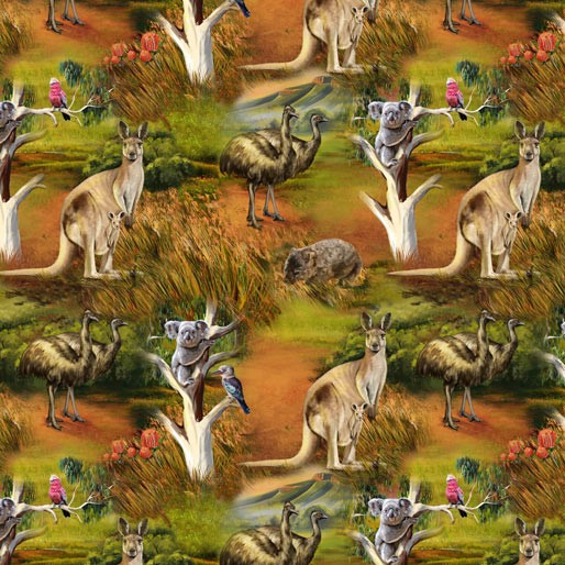 Wildlife Valley Allover - K & K Fabric