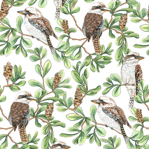 Gumtree Friends Kookaburras - K & K Fabric