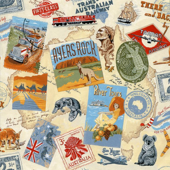 Australian Iconic Sights stamp size pictures of famous places, people, animals, flora and fauna