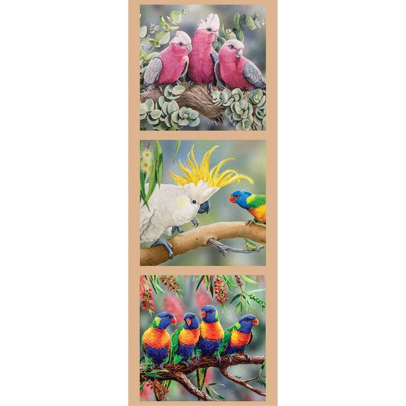 DV3178 - Panel  Pink, Grey, White Galah, Yellow Crested Cockatoo, Green, Blue Yellow and Red Lorikeet Indigenous Native Australian Animals Whispers of the Valley Fabrics